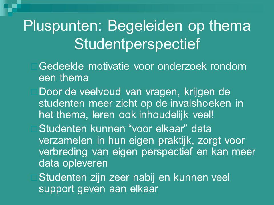 Pluspunten: Begeleiden op thema Studentperspectief  Gedeelde motivatie voor onderzoek rondom een thema  Door de veelvoud van vragen, krijgen de stud