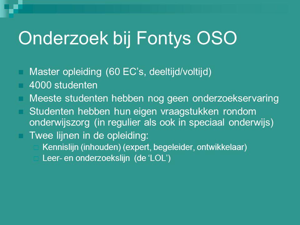 Onderzoek bij Fontys OSO Master opleiding (60 EC's, deeltijd/voltijd) 4000 studenten Meeste studenten hebben nog geen onderzoekservaring Studenten heb