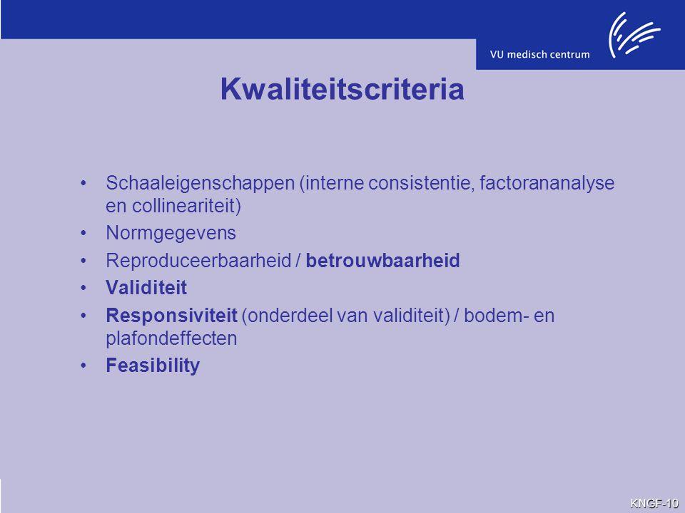 Kwaliteitscriteria Schaaleigenschappen (interne consistentie, factorananalyse en collineariteit) Normgegevens Reproduceerbaarheid / betrouwbaarheid Va