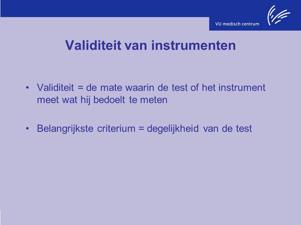 Validiteit van instrumenten Validiteit = de mate waarin de test of het instrument meet wat hij bedoelt te meten Belangrijkste criterium = degelijkheid