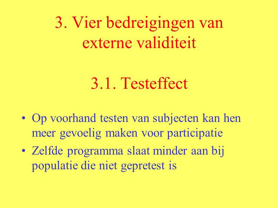 3.Vier bedreigingen van externe validiteit 3.1.