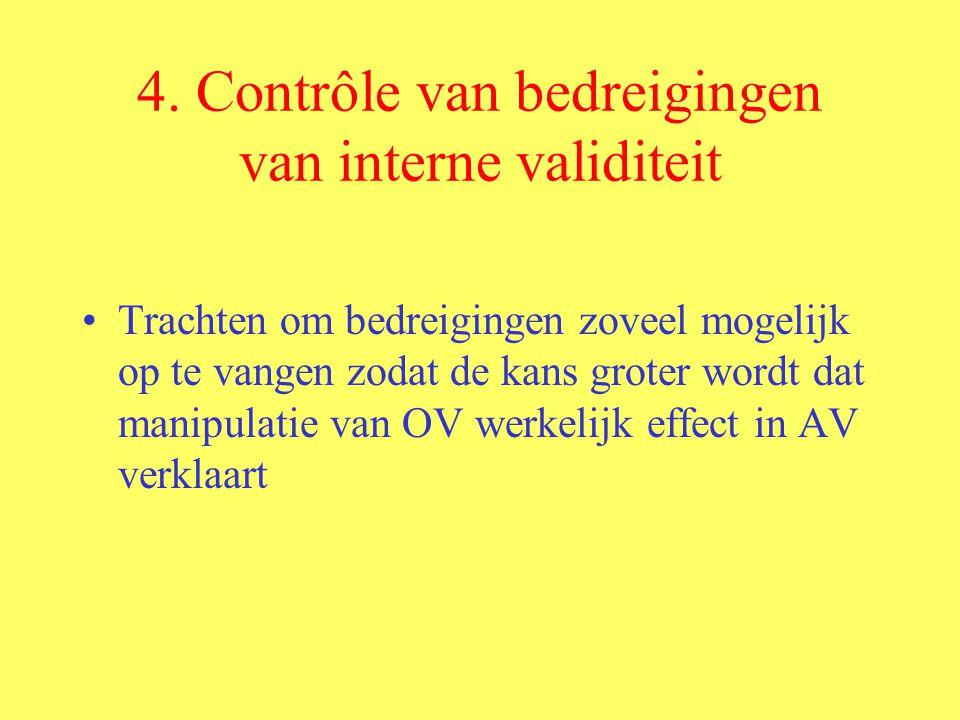 4. Contrôle van bedreigingen van interne validiteit Trachten om bedreigingen zoveel mogelijk op te vangen zodat de kans groter wordt dat manipulatie v