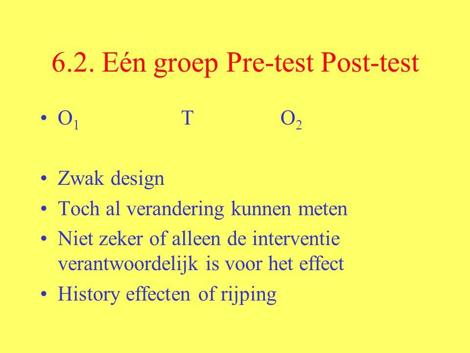 6.2. Eén groep Pre-test Post-test O 1 T O 2 Zwak design Toch al verandering kunnen meten Niet zeker of alleen de interventie verantwoordelijk is voor