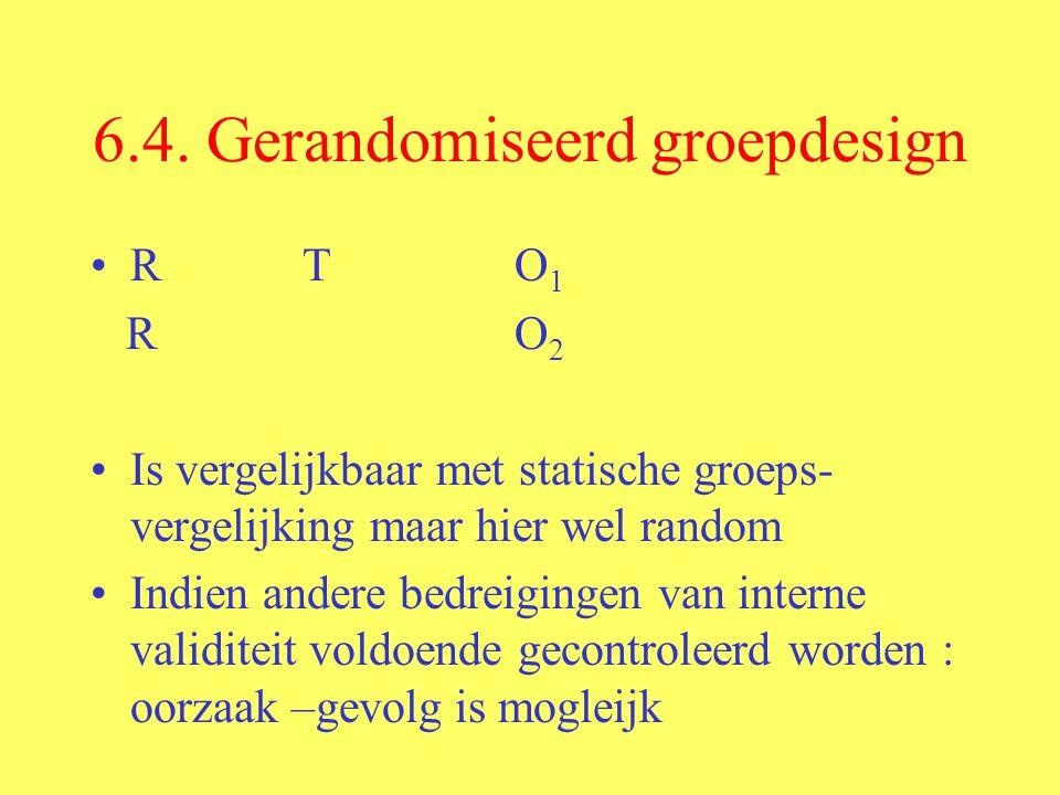 6.4. Gerandomiseerd groepdesign RTO 1 RO 2 Is vergelijkbaar met statische groeps- vergelijking maar hier wel random Indien andere bedreigingen van int