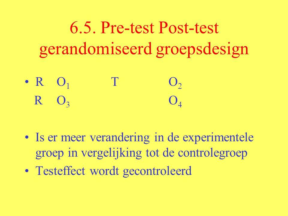 6.5. Pre-test Post-test gerandomiseerd groepsdesign R O 1 TO 2 R O 3 O 4 Is er meer verandering in de experimentele groep in vergelijking tot de contr