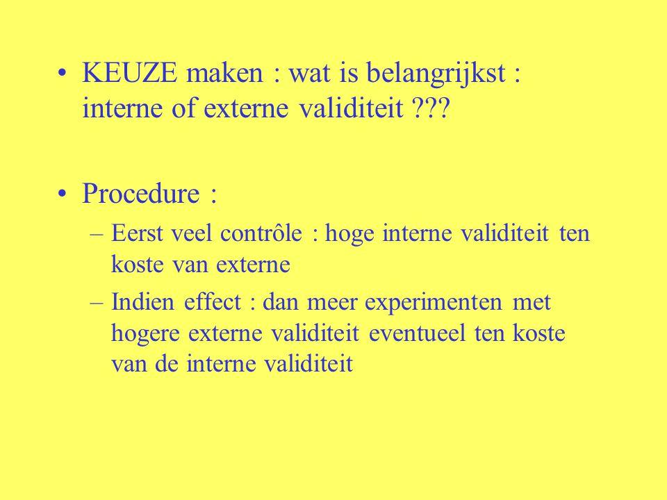 KEUZE maken : wat is belangrijkst : interne of externe validiteit ??.
