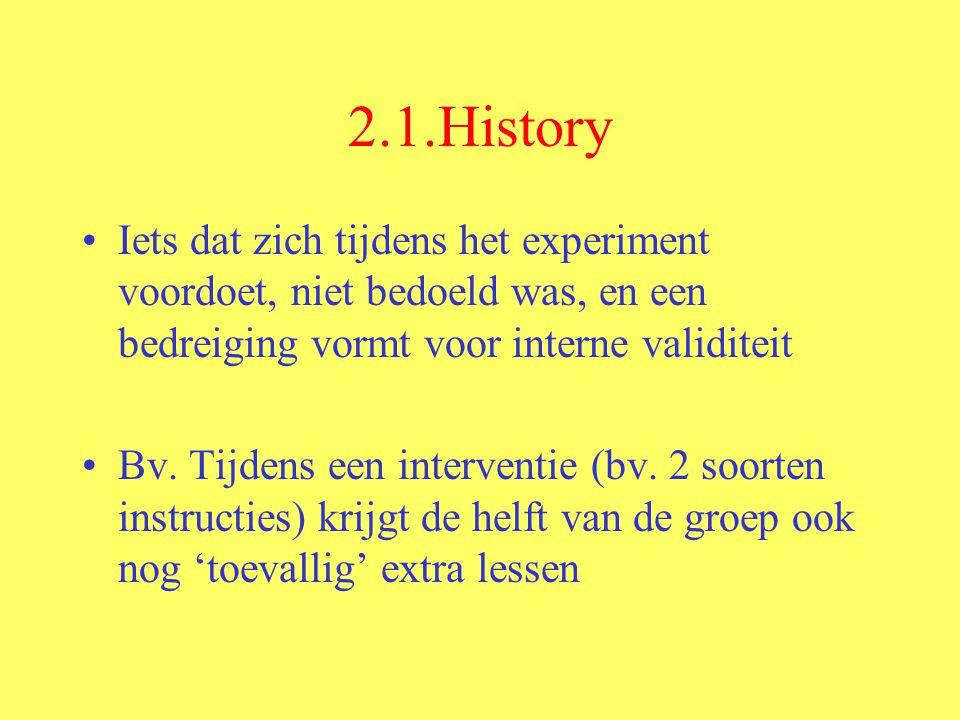 2.1.History Iets dat zich tijdens het experiment voordoet, niet bedoeld was, en een bedreiging vormt voor interne validiteit Bv.