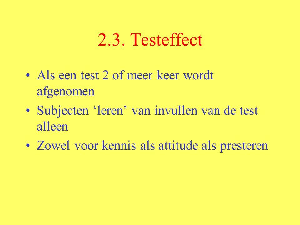 2.3. Testeffect Als een test 2 of meer keer wordt afgenomen Subjecten 'leren' van invullen van de test alleen Zowel voor kennis als attitude als prest