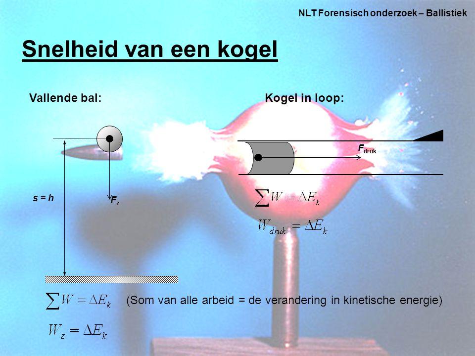 NLT Forensisch onderzoek – Ballistiek Snelheid van een kogel s = h FzFz Vallende bal:Kogel in loop: F druk (Som van alle arbeid = de verandering in kinetische energie)