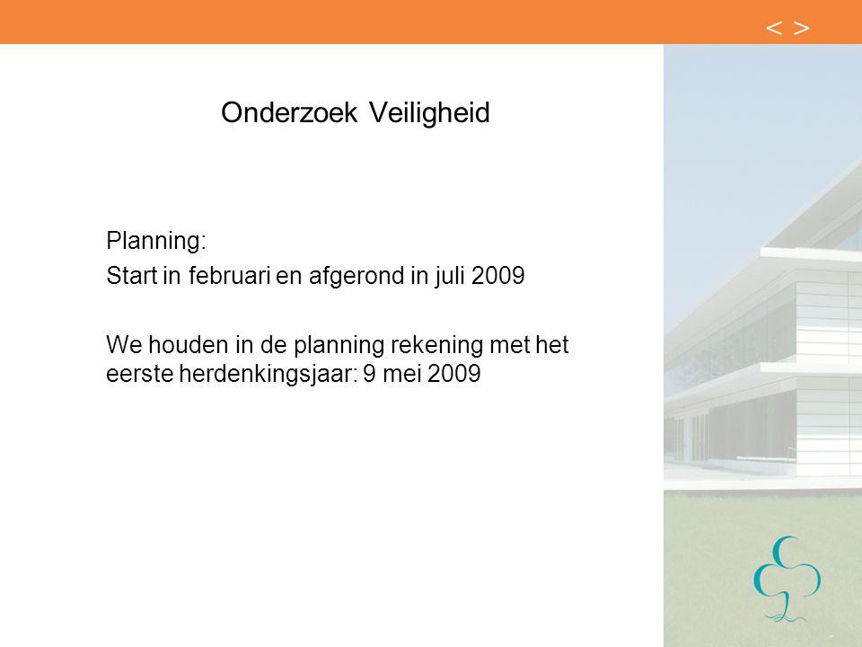 Onderzoek Veiligheid Planning: Start in februari en afgerond in juli 2009 We houden in de planning rekening met het eerste herdenkingsjaar: 9 mei 2009