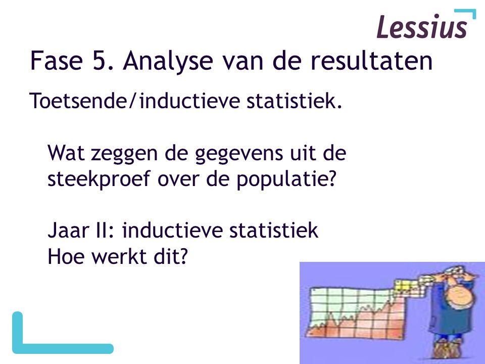 Fase 5.Analyse van de resultaten Toetsende/inductieve statistiek.