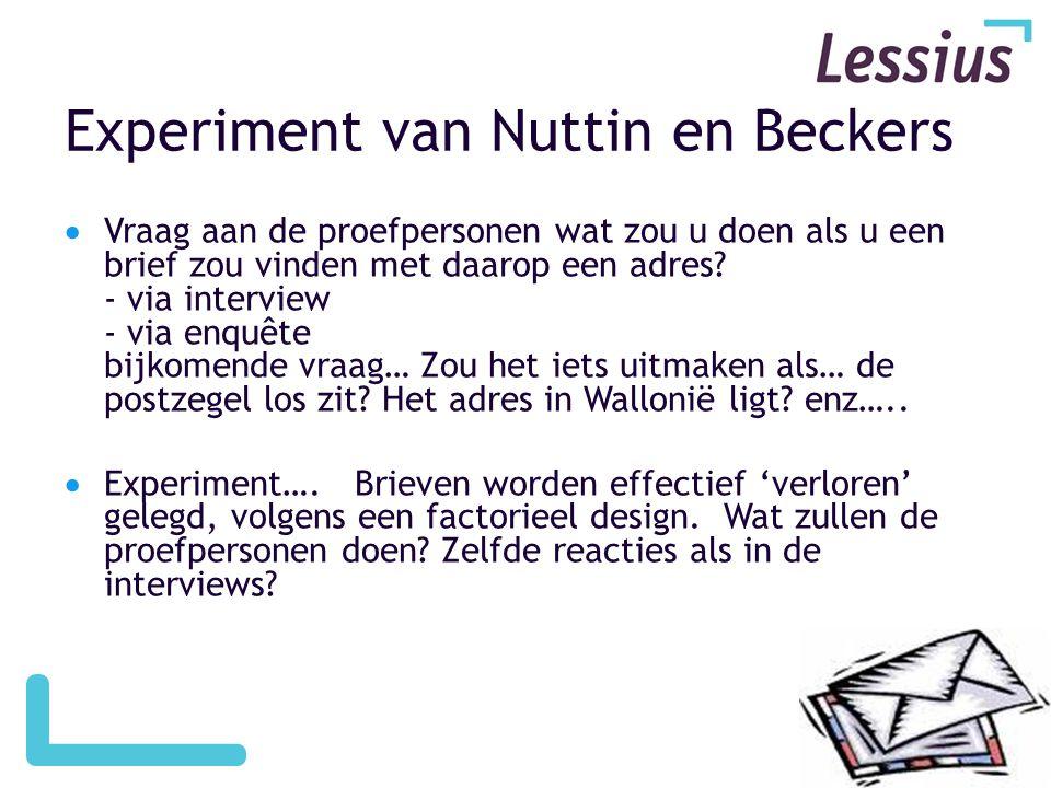 Experiment van Nuttin en Beckers  Vraag aan de proefpersonen wat zou u doen als u een brief zou vinden met daarop een adres.