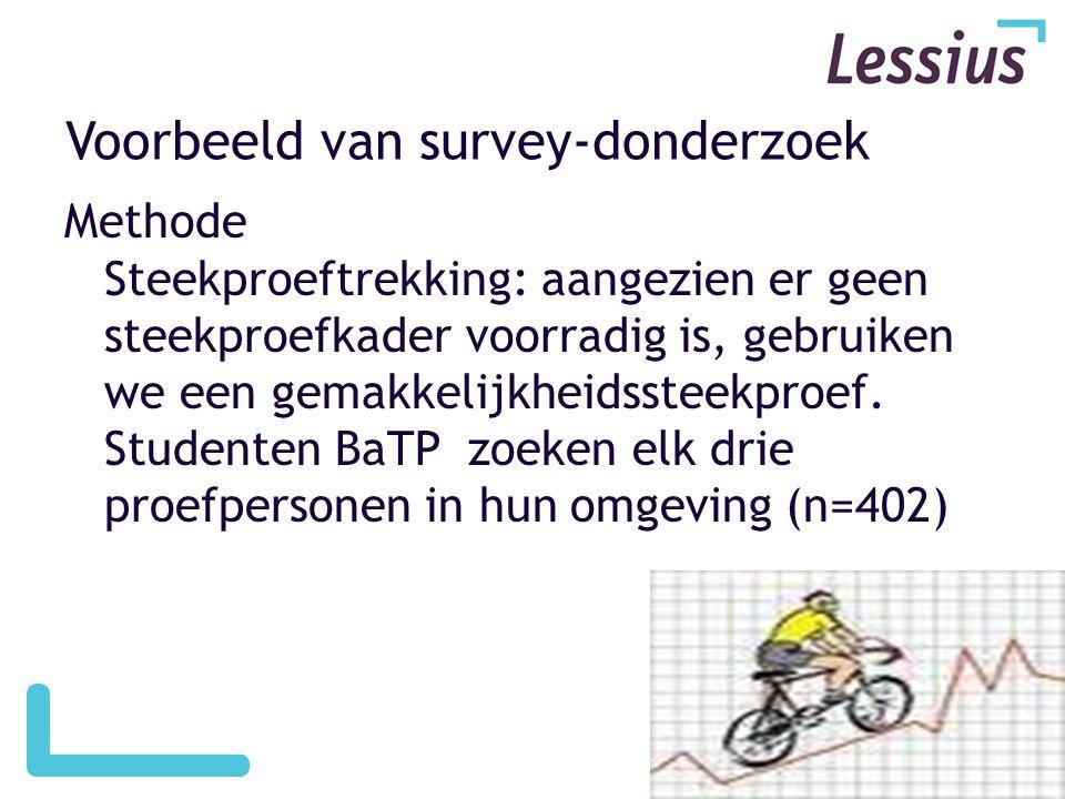 Voorbeeld van survey-donderzoek Methode Steekproeftrekking: aangezien er geen steekproefkader voorradig is, gebruiken we een gemakkelijkheidssteekproef.