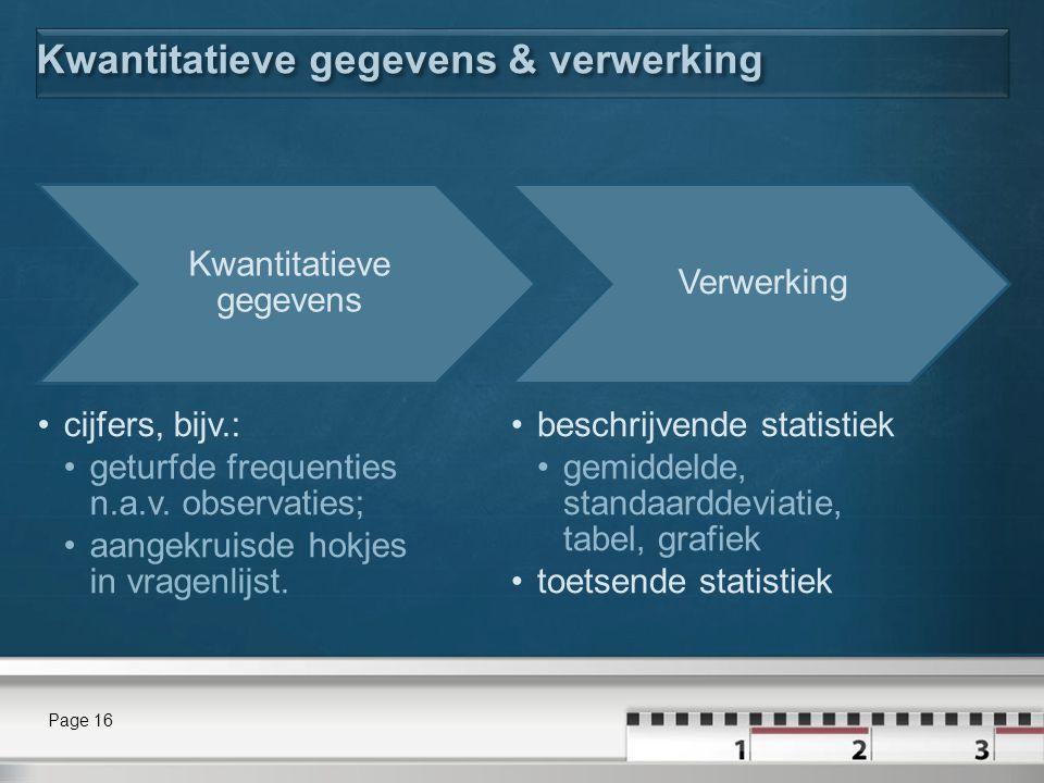 Kwantitatieve gegevens & verwerking Kwantitatieve gegevens cijfers, bijv.: geturfde frequenties n.a.v. observaties; aangekruisde hokjes in vragenlijst