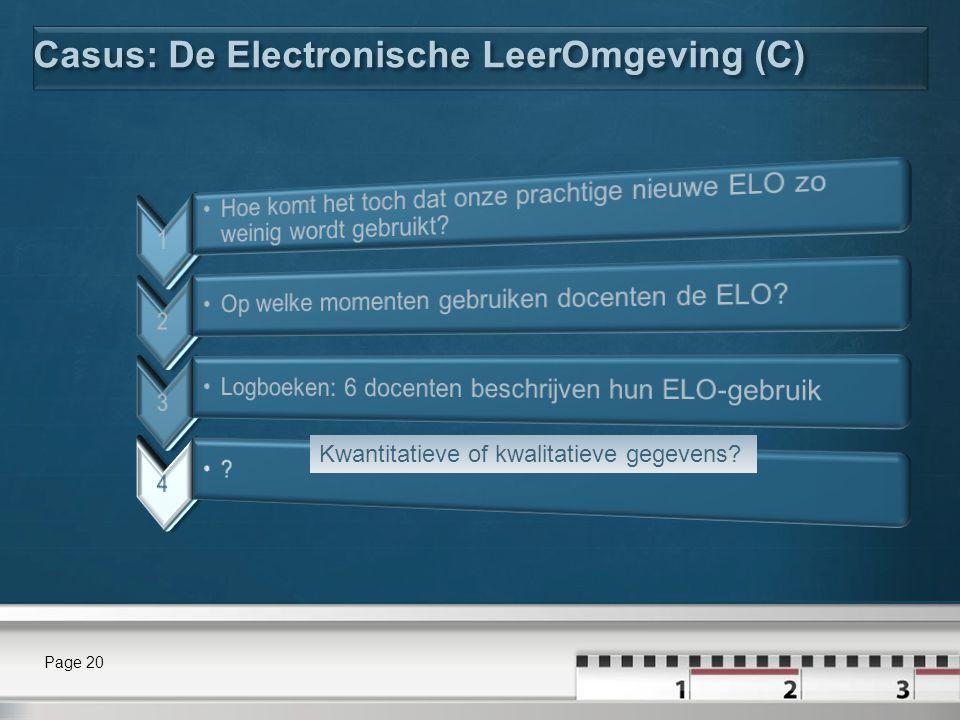 Casus: De Electronische LeerOmgeving (C) Page 20 Kwantitatieve of kwalitatieve gegevens?