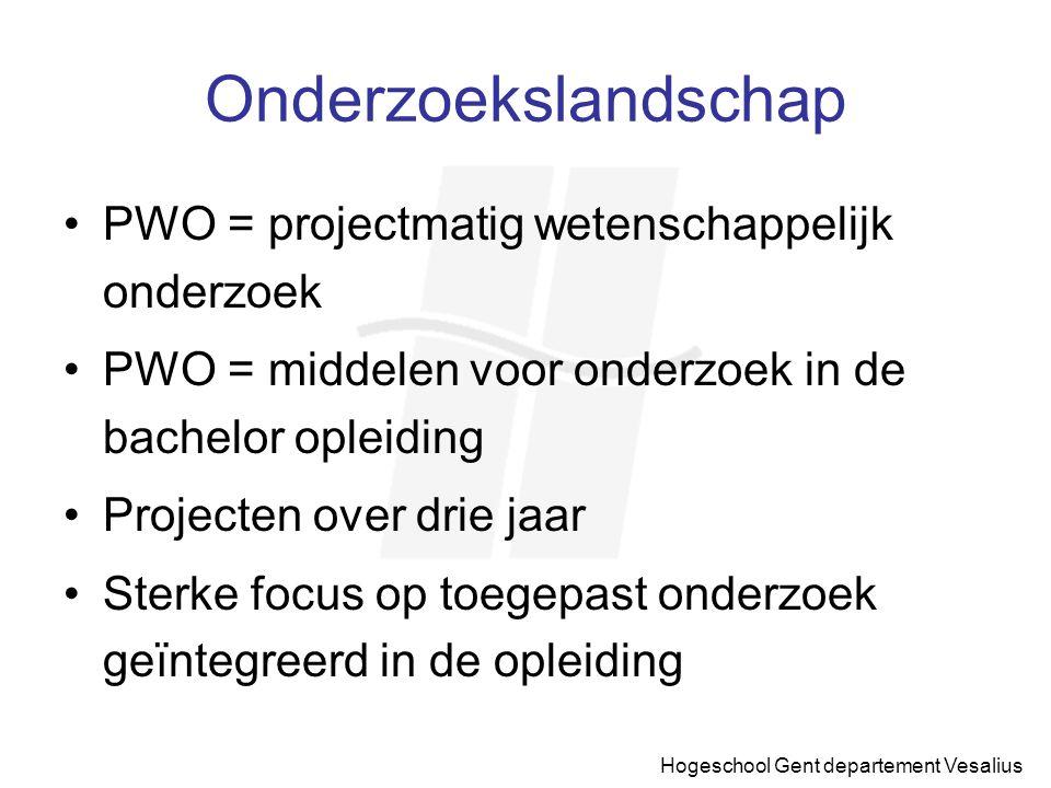 Hogeschool Gent departement Vesalius PWO Voordelen PWO project: Aanwerven van wetenschappelijk medewerkers Actualisering van het bestaande curriculum Professionaliseren van de opleiding Middelen voor uitbreiding van infrastructuur Intensiever gebruik van bestaande infrastructuur
