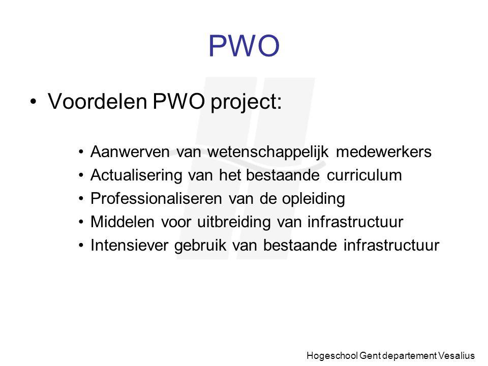 Hogeschool Gent departement Vesalius PWO Voordelen PWO project: Aanwerven van wetenschappelijk medewerkers Actualisering van het bestaande curriculum