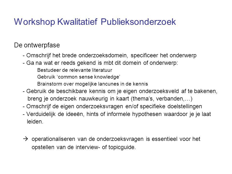 Workshop Kwalitatief Publieksonderzoek De ontwerpfase - Omschrijf het brede onderzoeksdomein, specificeer het onderwerp - Ga na wat er reeds gekend is