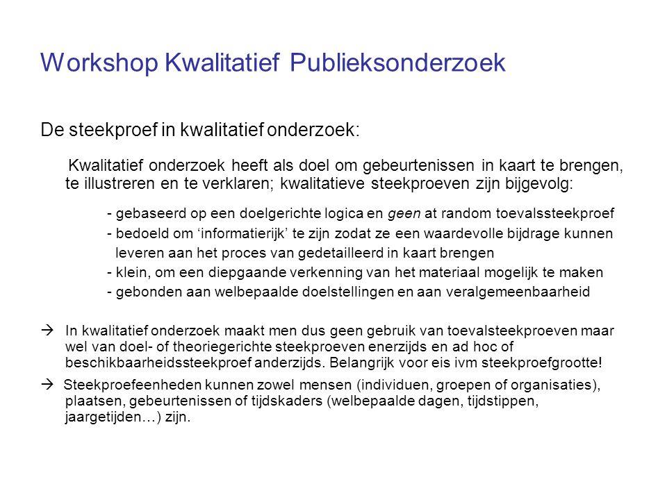 Workshop Kwalitatief Publieksonderzoek De steekproef in kwalitatief onderzoek: Kwalitatief onderzoek heeft als doel om gebeurtenissen in kaart te bren