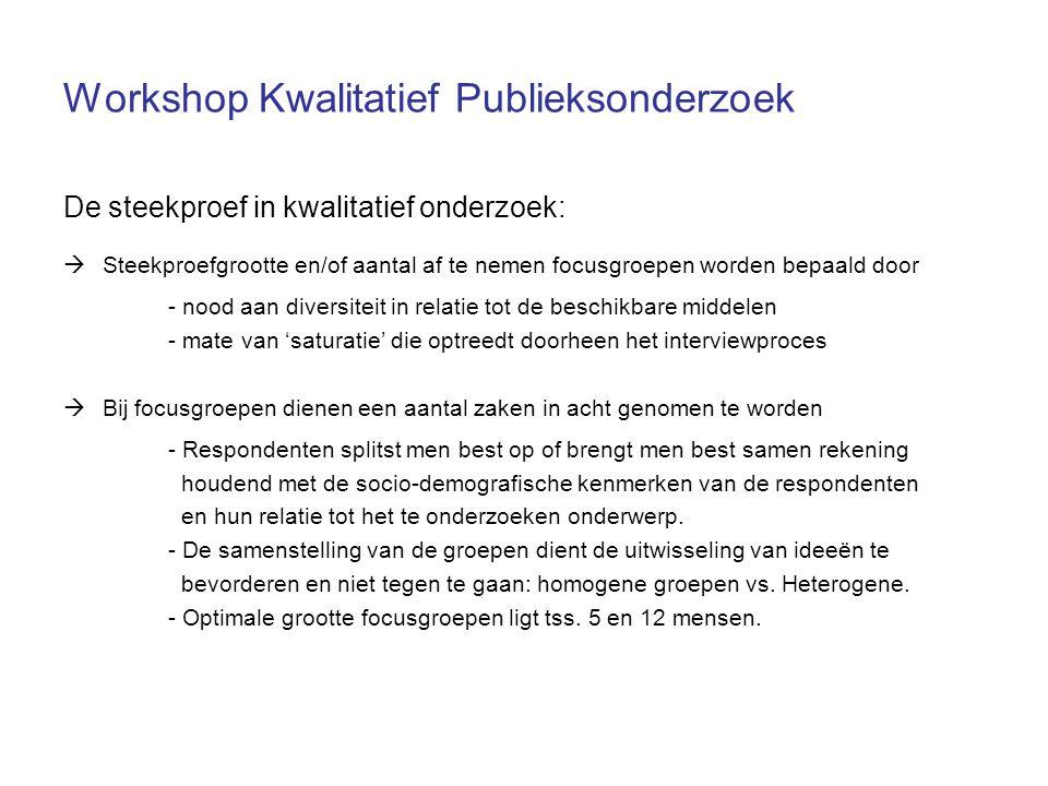 Workshop Kwalitatief Publieksonderzoek De steekproef in kwalitatief onderzoek:  Steekproefgrootte en/of aantal af te nemen focusgroepen worden bepaal