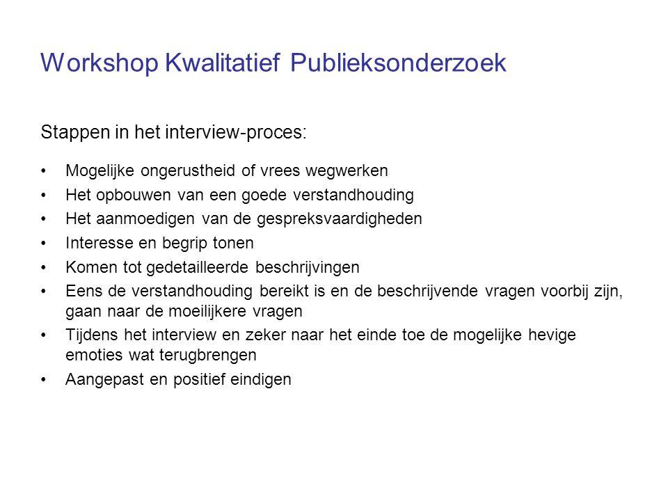 Workshop Kwalitatief Publieksonderzoek Stappen in het interview-proces: Mogelijke ongerustheid of vrees wegwerken Het opbouwen van een goede verstandh
