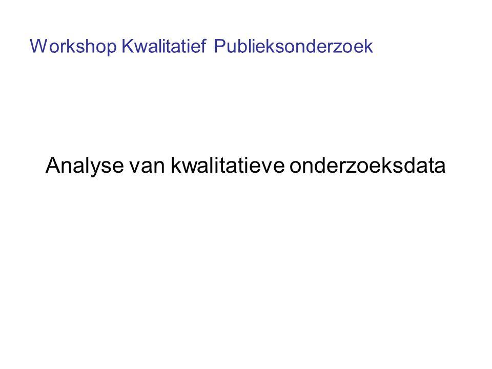 Workshop Kwalitatief Publieksonderzoek Analyse van kwalitatieve onderzoeksdata