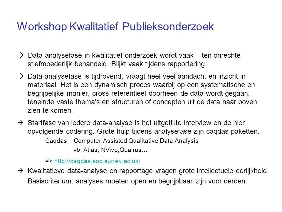 Workshop Kwalitatief Publieksonderzoek  Data-analysefase in kwalitatief onderzoek wordt vaak – ten onrechte – stiefmoederlijk behandeld. Blijkt vaak