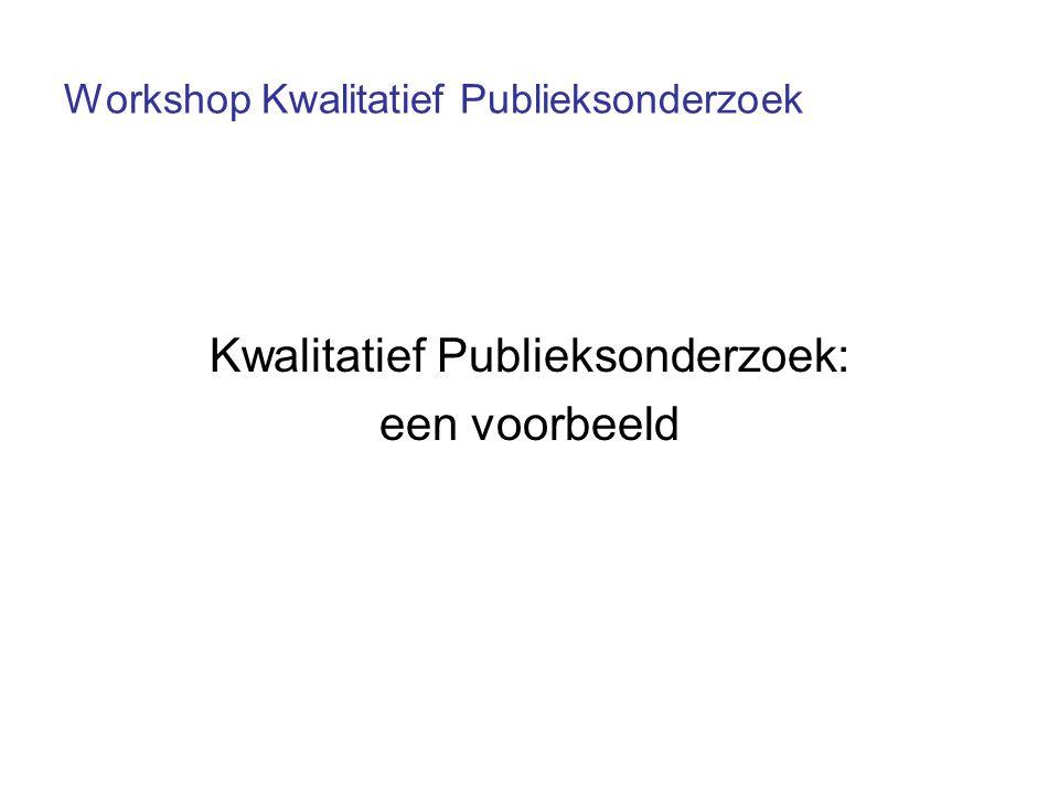 Workshop Kwalitatief Publieksonderzoek Kwalitatief Publieksonderzoek: een voorbeeld