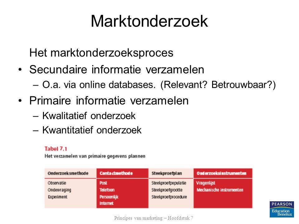 Marktonderzoek Het marktonderzoeksproces Secundaire informatie verzamelen –O.a. via online databases. (Relevant? Betrouwbaar?) Primaire informatie ver