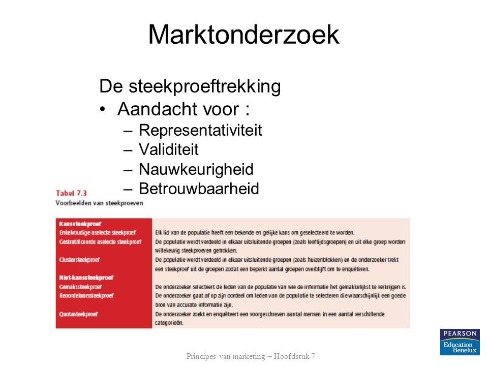 Marktonderzoek De steekproeftrekking Aandacht voor : –Representativiteit –Validiteit –Nauwkeurigheid –Betrouwbaarheid Principes van marketing – Hoofds