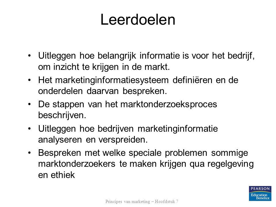 Marktonderzoek Het marktonderzoeksproces Secundaire informatie verzamelen –O.a.