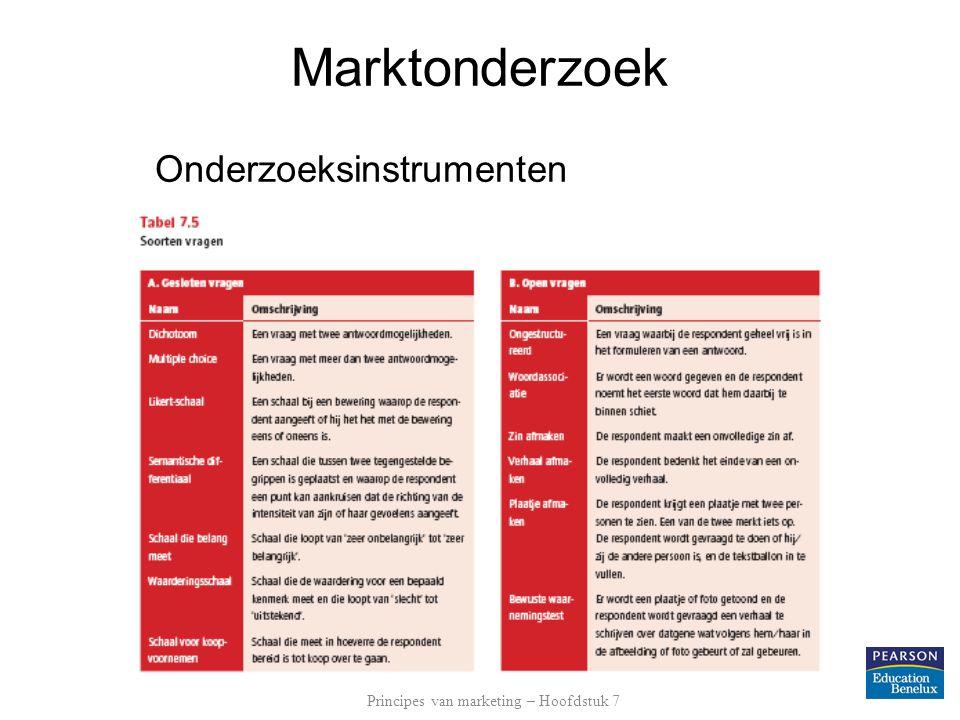 Marktonderzoek Onderzoeksinstrumenten Principes van marketing – Hoofdstuk 7