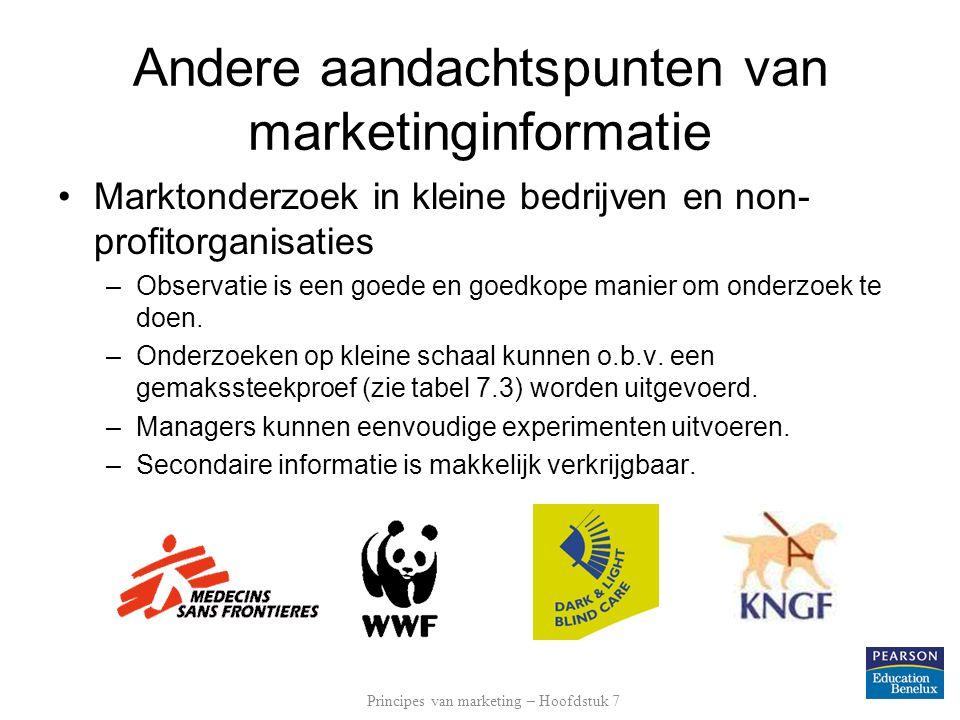 Andere aandachtspunten van marketinginformatie Marktonderzoek in kleine bedrijven en non- profitorganisaties –Observatie is een goede en goedkope mani