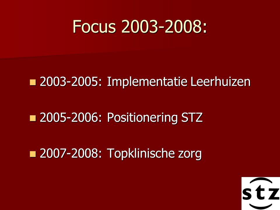 Focus 2003-2008: 2003-2005: Implementatie Leerhuizen 2003-2005: Implementatie Leerhuizen 2005-2006: Positionering STZ 2005-2006: Positionering STZ 200