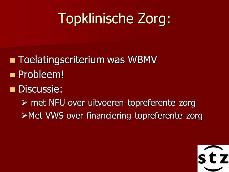 Topklinische Zorg: Toelatingscriterium was WBMV Toelatingscriterium was WBMV Probleem! Probleem! Discussie: Discussie:  met NFU over uitvoeren topref