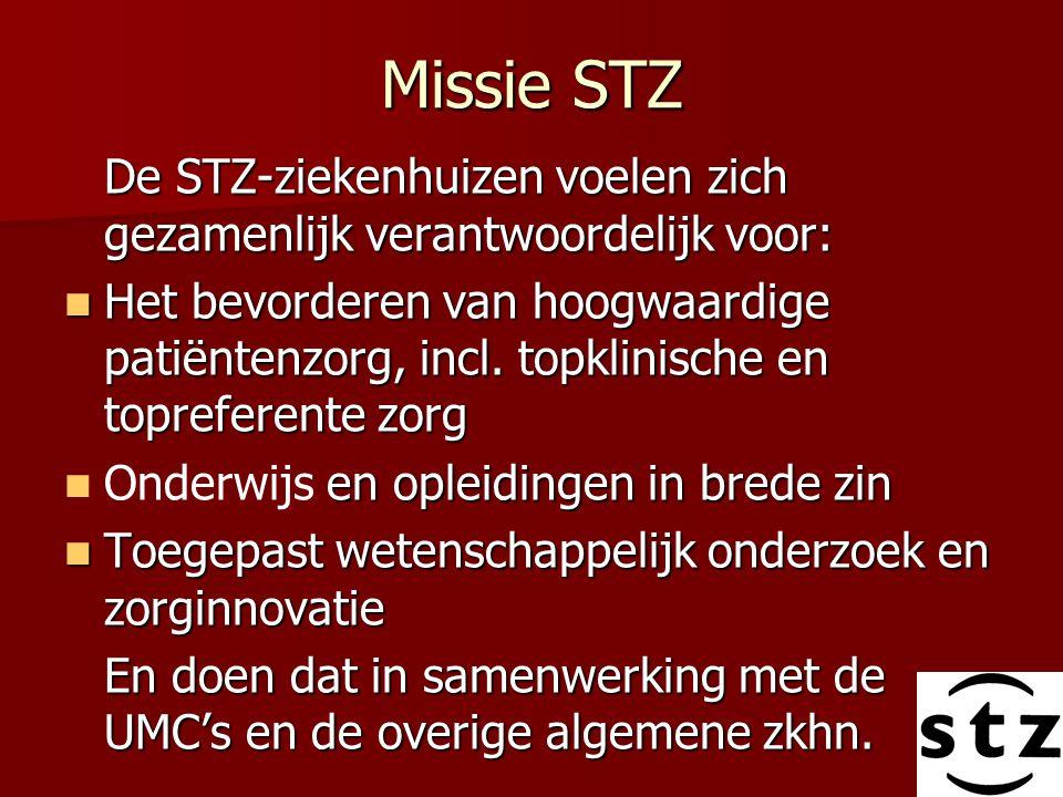 Missie STZ De STZ-ziekenhuizen voelen zich gezamenlijk verantwoordelijk voor: Het bevorderen van hoogwaardige patiëntenzorg, incl. topklinische en top
