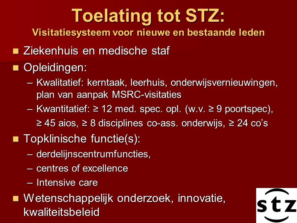 Toelating tot STZ: Visitatiesysteem voor nieuwe en bestaande leden Ziekenhuis en medische staf Ziekenhuis en medische staf Opleidingen: Opleidingen: –