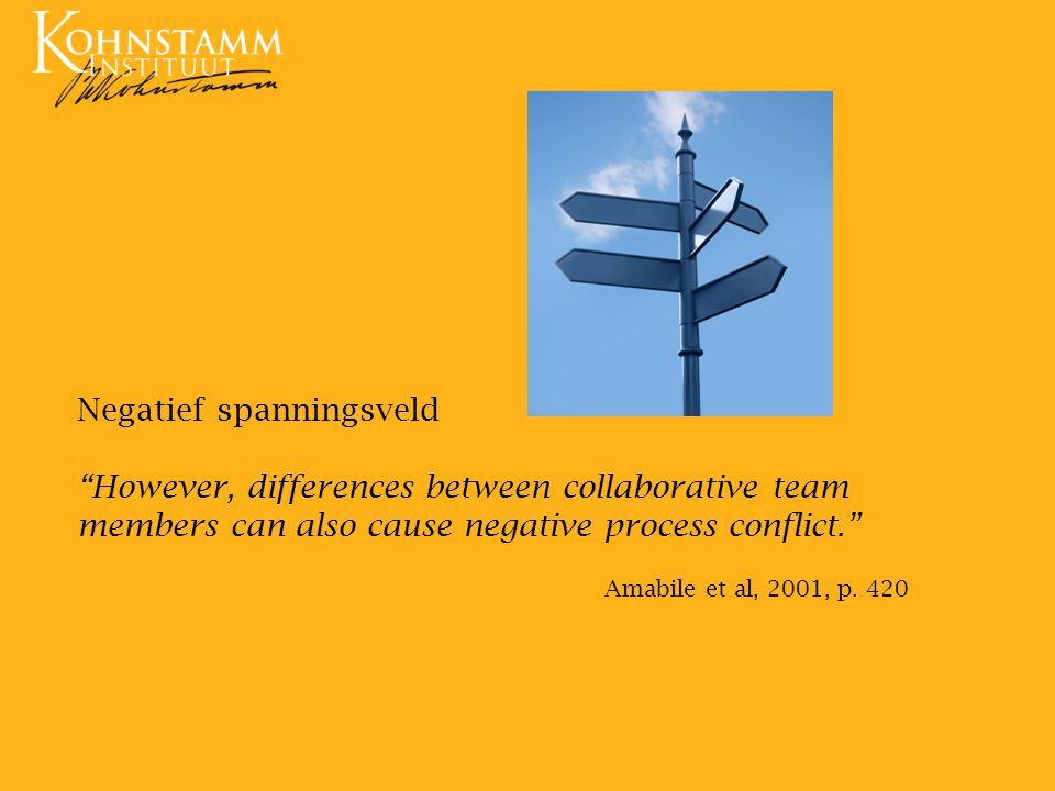 "Negatief spanningsveld ""However, differences between collaborative team members can also cause negative process conflict."" Amabile et al, 2001, p. 420"