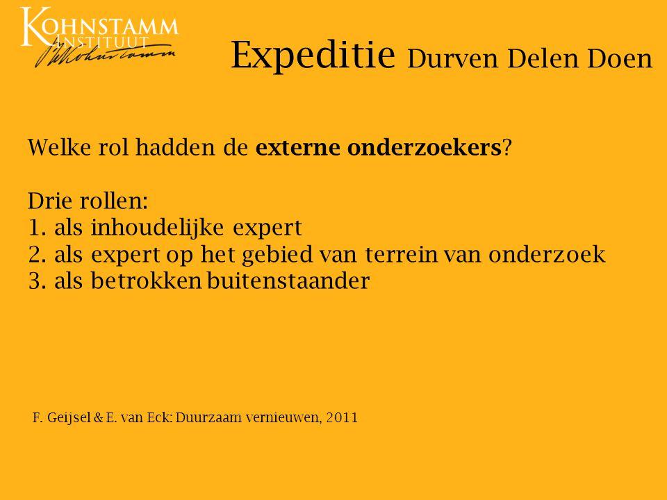 Welke rol hadden de externe onderzoekers.Drie rollen: 1.