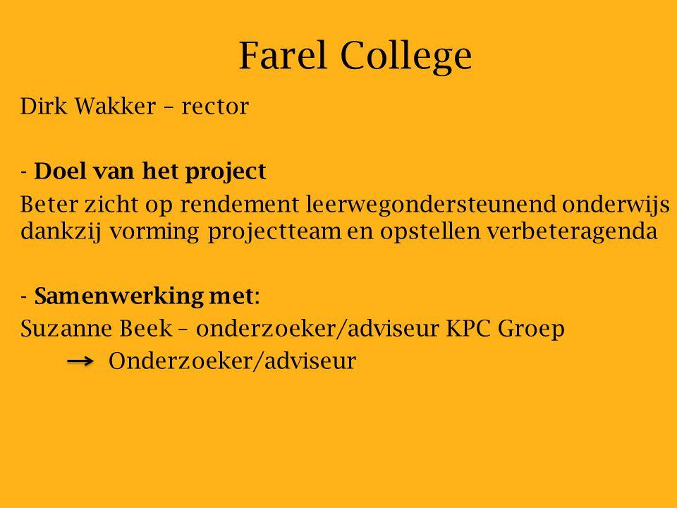 Farel College Dirk Wakker – rector - - Doel van het project Beter zicht op rendement leerwegondersteunend onderwijs dankzij vorming projectteam en opstellen verbeteragenda - - Samenwerking met: Suzanne Beek – onderzoeker/adviseur KPC Groep Onderzoeker/adviseur
