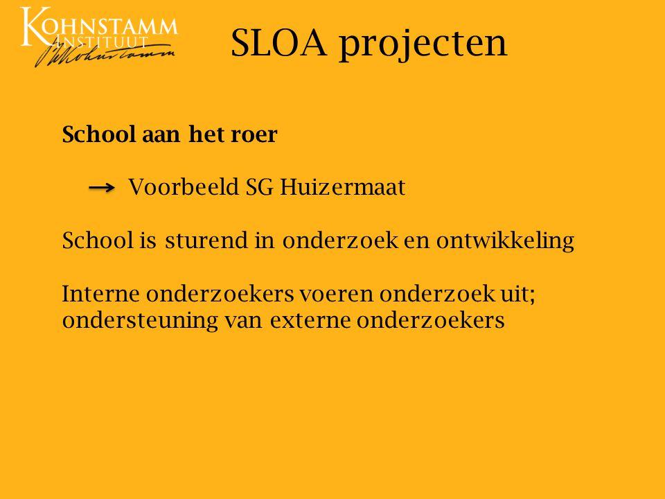 School aan het roer Voorbeeld SG Huizermaat School is sturend in onderzoek en ontwikkeling Interne onderzoekers voeren onderzoek uit; ondersteuning van externe onderzoekers SLOA projecten