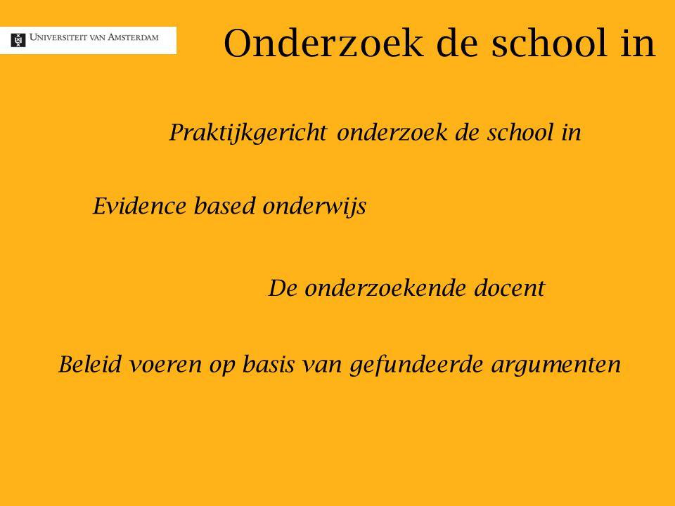 Evidence based onderwijs Praktijkgericht onderzoek de school in De onderzoekende docent Beleid voeren op basis van gefundeerde argumenten Onderzoek de school in