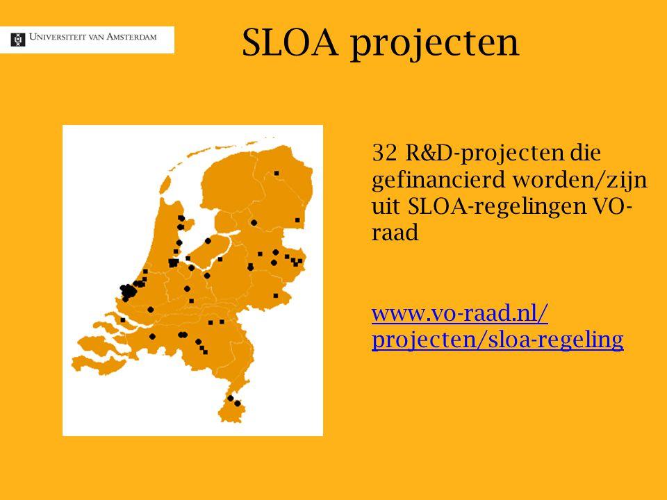 32 R&D-projecten die gefinancierd worden/zijn uit SLOA-regelingen VO- raad www.vo-raad.nl/ projecten/sloa-regeling SLOA projecten