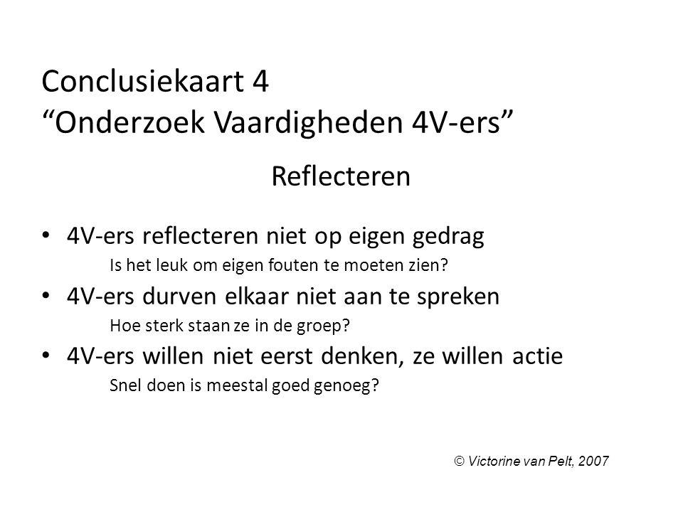 """Conclusiekaart 4 """"Onderzoek Vaardigheden 4V-ers"""" Reflecteren 4V-ers reflecteren niet op eigen gedrag Is het leuk om eigen fouten te moeten zien? 4V-er"""