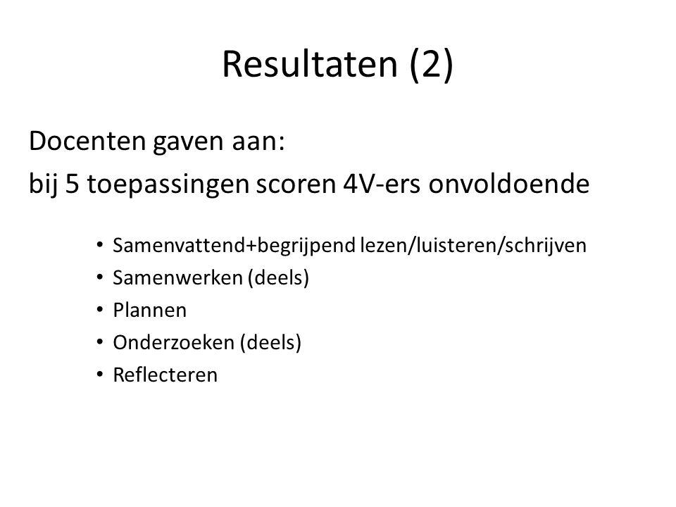 Resultaten (2) Docenten gaven aan: bij 5 toepassingen scoren 4V-ers onvoldoende Samenvattend+begrijpend lezen/luisteren/schrijven Samenwerken (deels)