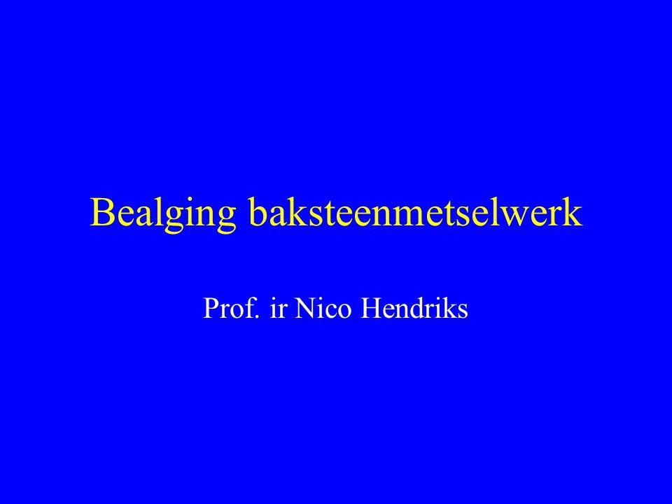 Probleem - groenverkleuring baksteen metselwerk (< 5 jaar) - onderzoek: => TNO Bouw => Koninklijk Verbond van Nederlandse Baksteenfabrikanten inleiding literatuurstudie situatie in de praktijk experimentele fase bespreking conclusies verder onderzoek discussie - esthetisch - kosten (reiniging)