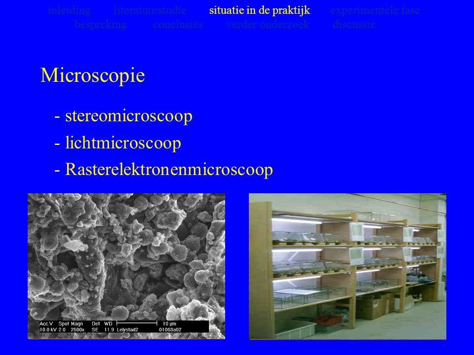 Microscopie - stereomicroscoop - lichtmicroscoop - Rasterelektronenmicroscoop inleiding literatuurstudie situatie in de praktijk experimentele fase be