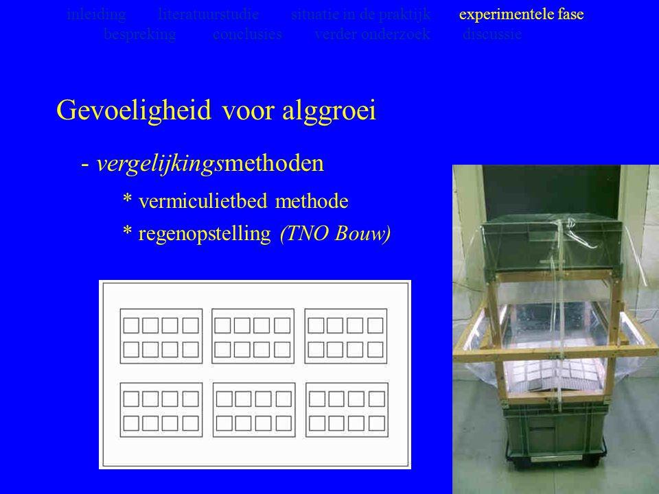 Gevoeligheid voor alggroei - vergelijkingsmethoden * vermiculietbed methode * regenopstelling (TNO Bouw) inleiding literatuurstudie situatie in de pra