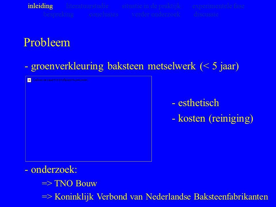 Probleem - groenverkleuring baksteen metselwerk (< 5 jaar) - onderzoek: => TNO Bouw => Koninklijk Verbond van Nederlandse Baksteenfabrikanten inleidin
