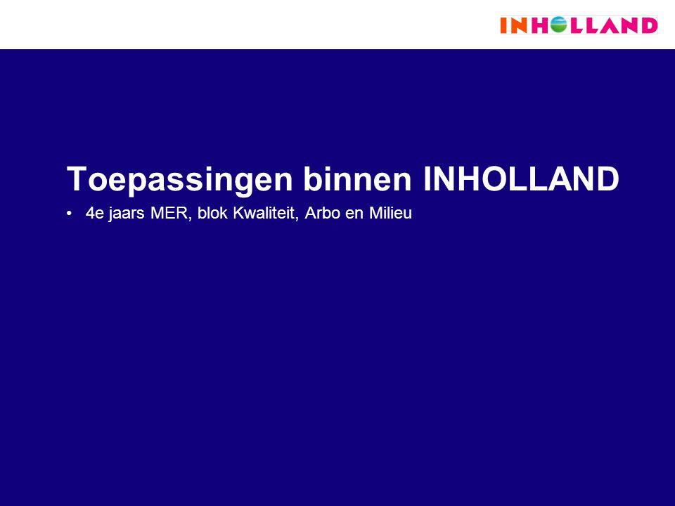 Toepassingen binnen INHOLLAND 4e jaars MER, blok Kwaliteit, Arbo en Milieu